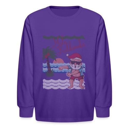 Ugly Christmas Sweater Hawaiian Dancing Santa - Kids' Long Sleeve T-Shirt
