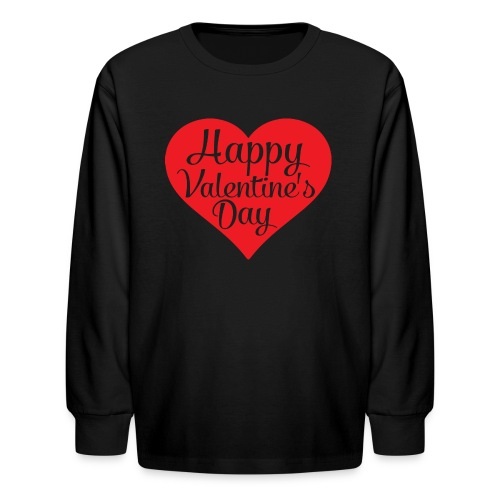 Happy Valentine s Day Heart T shirts and Cute Font - Kids' Long Sleeve T-Shirt
