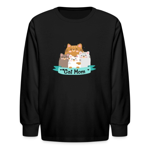 Cat MOM, Cat Mother, Cat Mum, Mother's Day - Kids' Long Sleeve T-Shirt