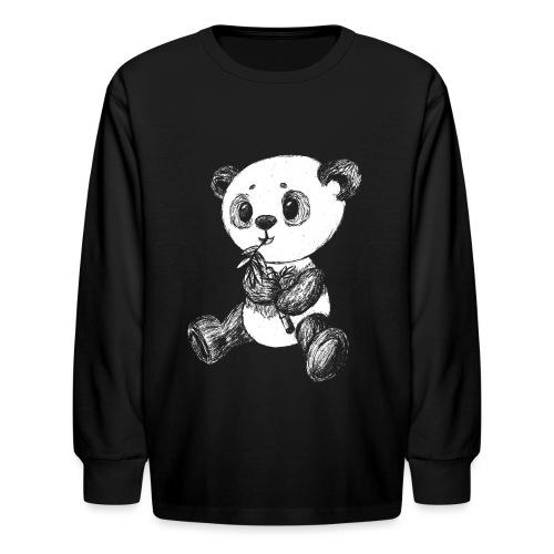 Panda bear white scribblesirii - Kids' Long Sleeve T-Shirt