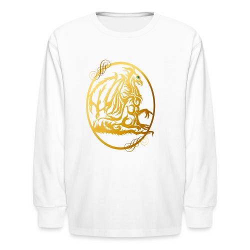 Gold Dragon Oval Design - Kids' Long Sleeve T-Shirt
