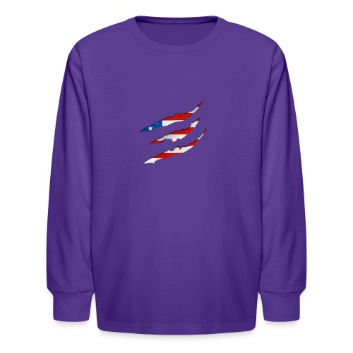 3D American Flag Claw Marks T-shirt for Men - Kids' Long Sleeve T-Shirt
