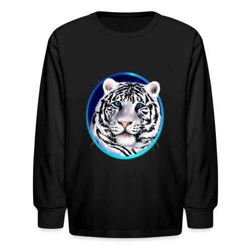 Framed White Tiger Face - Kids' Long Sleeve T-Shirt