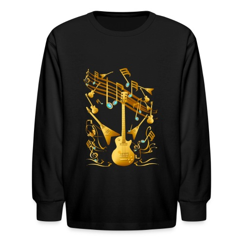 Gold Guitar Party - Kids' Long Sleeve T-Shirt