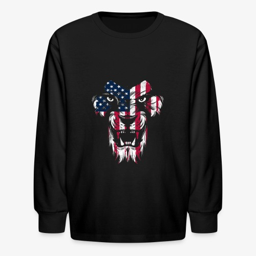 American Flag Lion - Kids' Long Sleeve T-Shirt