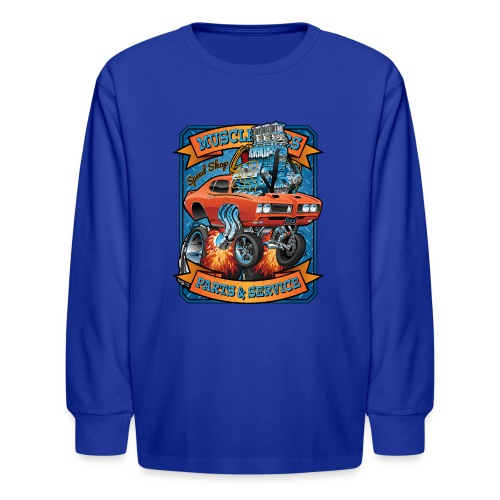 Classic Sixties Muscle Car Parts & Service Cartoon - Kids' Long Sleeve T-Shirt