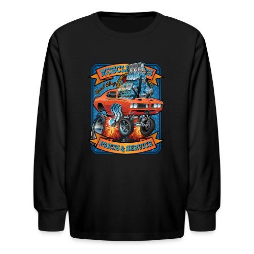 Classic Sixties Muscle Car Parts & Service Cartoon - Kids' Long Sleeve T-Shirt
