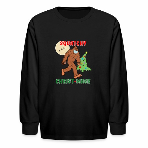 Bigfoot Squatchy Christmas Mask Social Distance. - Kids' Long Sleeve T-Shirt