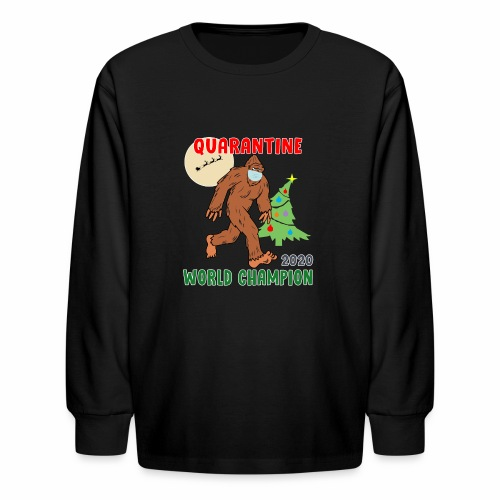 Quarantine World Champion Sasquatch Mask Christmas - Kids' Long Sleeve T-Shirt