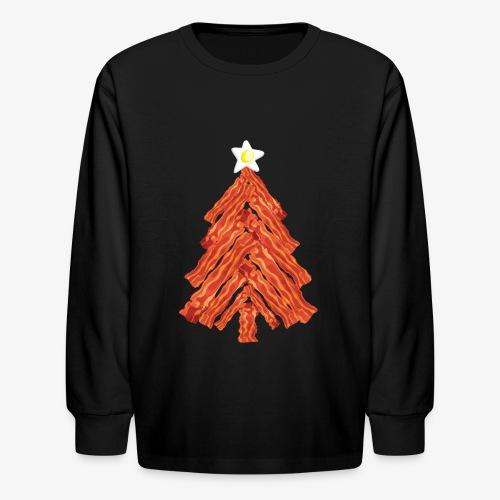 Funny Bacon and Egg Christmas Tree - Kids' Long Sleeve T-Shirt