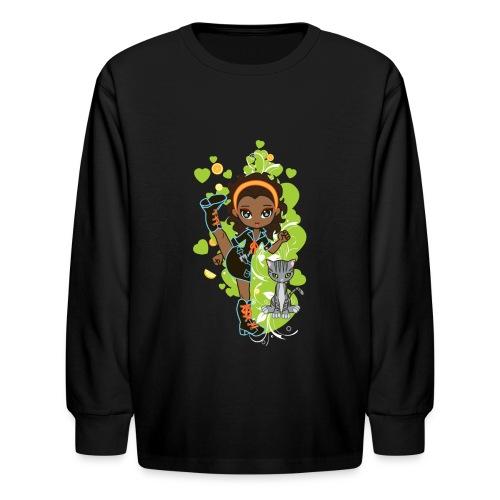 Aisha the African American Chibi Girl - Kids' Long Sleeve T-Shirt