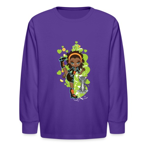 Aisha the African American Chibi Girl - Kids' Long Sleeve T-Shirt