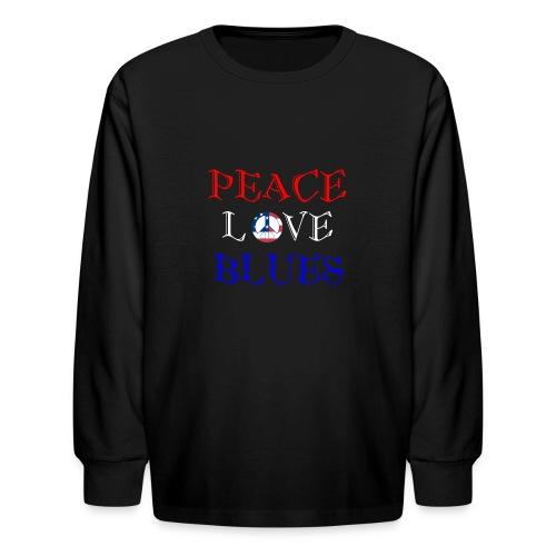 Peace, Love and Blues - Kids' Long Sleeve T-Shirt