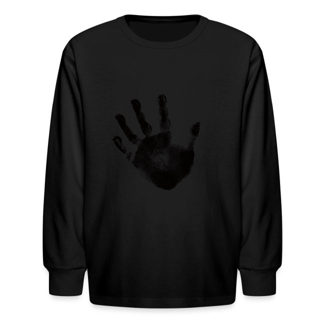 Black Handprint Graphic Design Picture Kids Long Sleeve T Shirt