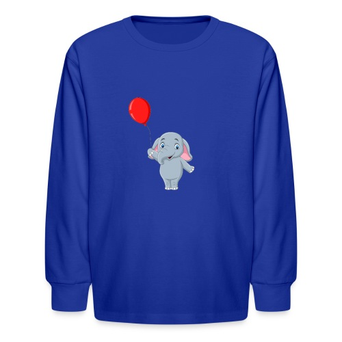 Baby Elephant Holding A Balloon - Kids' Long Sleeve T-Shirt