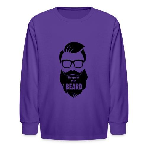 Respect the beard 08 - Kids' Long Sleeve T-Shirt