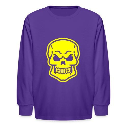 Skull vector yellow - Kids' Long Sleeve T-Shirt