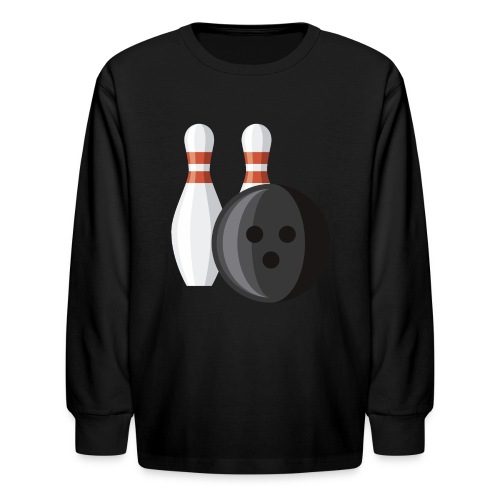 Bowling Ball and Pins - Kids' Long Sleeve T-Shirt