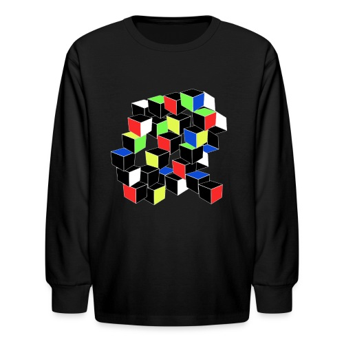 Optical Illusion Shirt - Cubes in 6 colors- Cubist - Kids' Long Sleeve T-Shirt