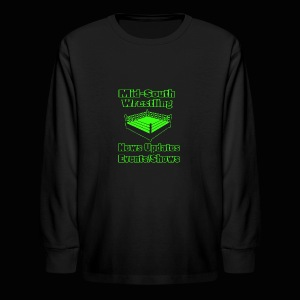 Mid-South Wrestling News Neon/Lime Green - Kids' Long Sleeve T-Shirt