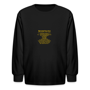 tshirt_pilotVersion_nologo_gold - Kids' Long Sleeve T-Shirt