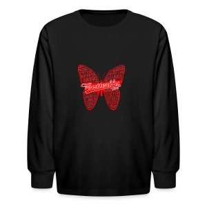 BUTTERFLY WORD RED - Kids' Long Sleeve T-Shirt