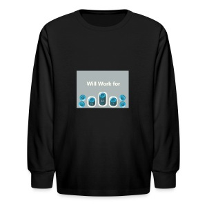 Will_work_for_buttons - Kids' Long Sleeve T-Shirt