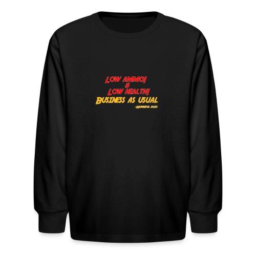 Low ammo & Low health + Logo - Kids' Long Sleeve T-Shirt