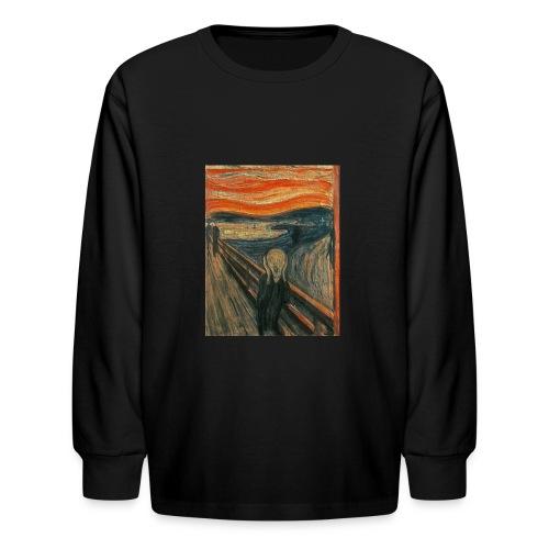 The Scream (Textured) by Edvard Munch - Kids' Long Sleeve T-Shirt