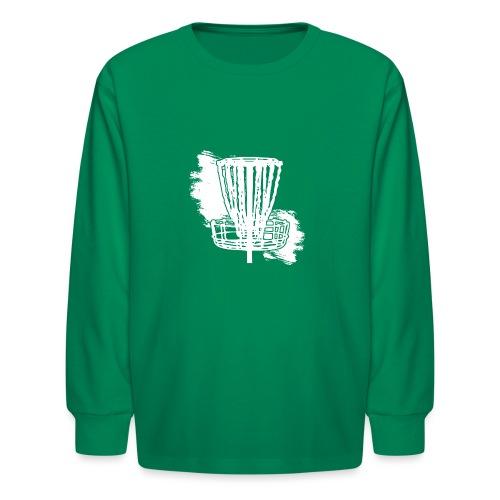 Disc Golf Basket White Print - Kids' Long Sleeve T-Shirt