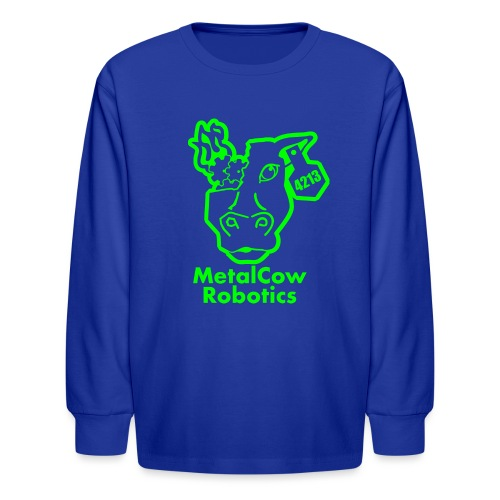 MetalCowLogo GreenOutline - Kids' Long Sleeve T-Shirt