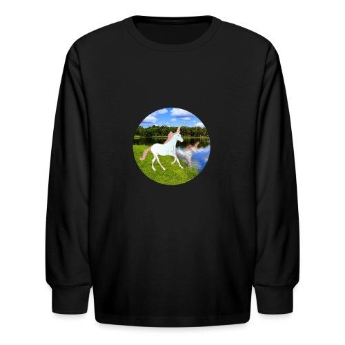 unicorn in reflection - Kids' Long Sleeve T-Shirt
