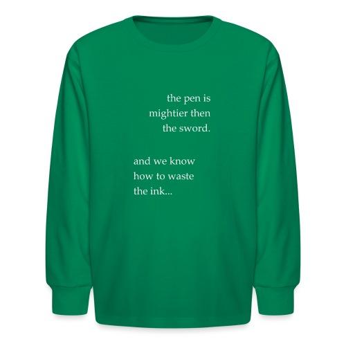 invert the pen is mightier(invert) - Kids' Long Sleeve T-Shirt