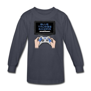 Blue Thumbs Gaming: Gamepad Logo - Kids' Long Sleeve T-Shirt