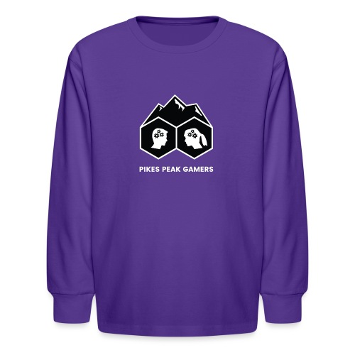 Pikes Peak Gamers Logo (Solid Black) - Kids' Long Sleeve T-Shirt