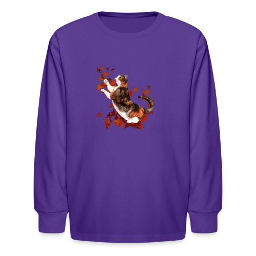 Autumn Cat - cat playing with autumn leaves - Kids' Long Sleeve T-Shirt