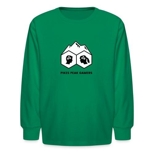 Pikes Peak Gamers Logo (Solid White) - Kids' Long Sleeve T-Shirt