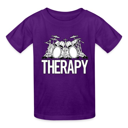 Drummers Therapy Drum Set Cartoon Illustration - Kids' T-Shirt