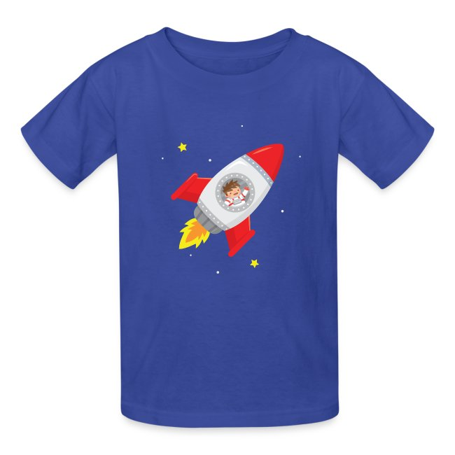 Custom Toddler T-Shirt Space Ship Rocket Style B Cotton Boy /& Girl Clothes