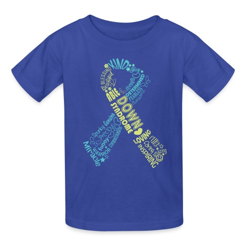 Down syndrome Ribbon Wordle - Kids' T-Shirt
