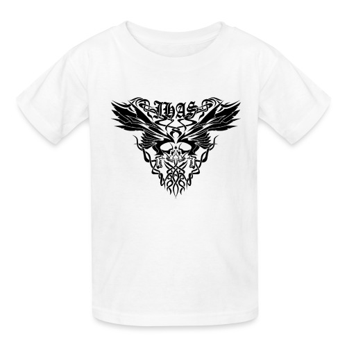 Vintage JHAS Tribal Skull Wings Illustration - Kids' T-Shirt
