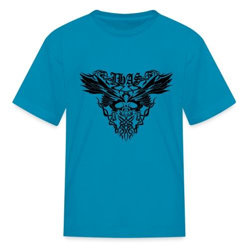 Vintage JHAS Tribal Skull Wings Illustration - Kids' T-Shirt