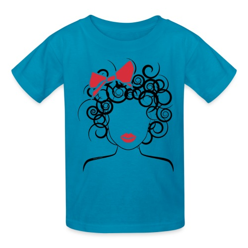 Curly Girl with Red Bow_Global Couture_logo T-Shir - Kids' T-Shirt