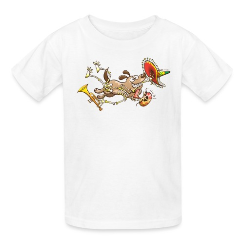 Mischievous Dog Stealing Mexican Skeleton - Kids' T-Shirt