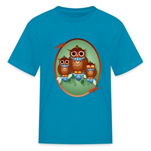 Three Alert Little Owls Ovals - Kids' T-Shirt