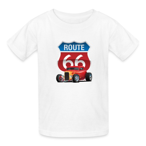 Route 66 Sign with Classic American Red Hotrod - Kids' T-Shirt