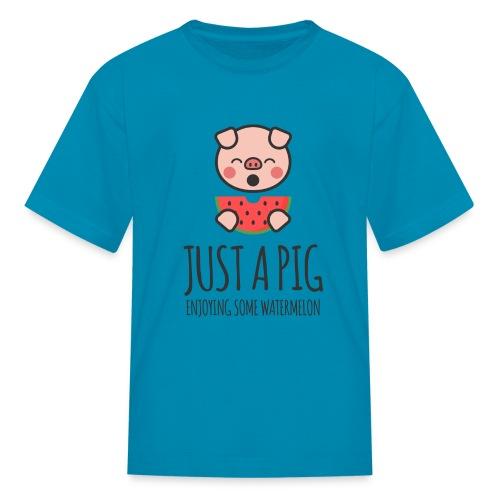 Just A Pig Enjoying Some Watermelon - Kids' T-Shirt