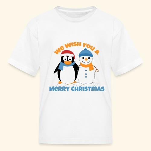 santa penguin with snowman christmas - Kids' T-Shirt