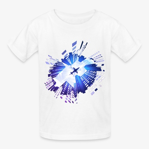 skyscraper and planes - Kids' T-Shirt