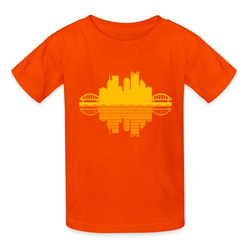Pittsburgh Skyline Reflection (Gold) - Kids' T-Shirt